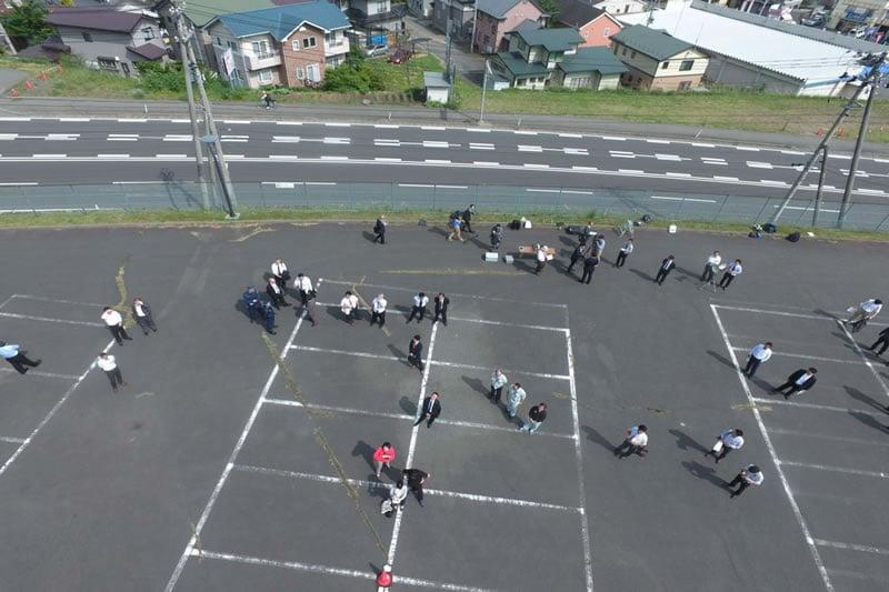 ドローン体験会を開催。岩手県営球場上空を撮影